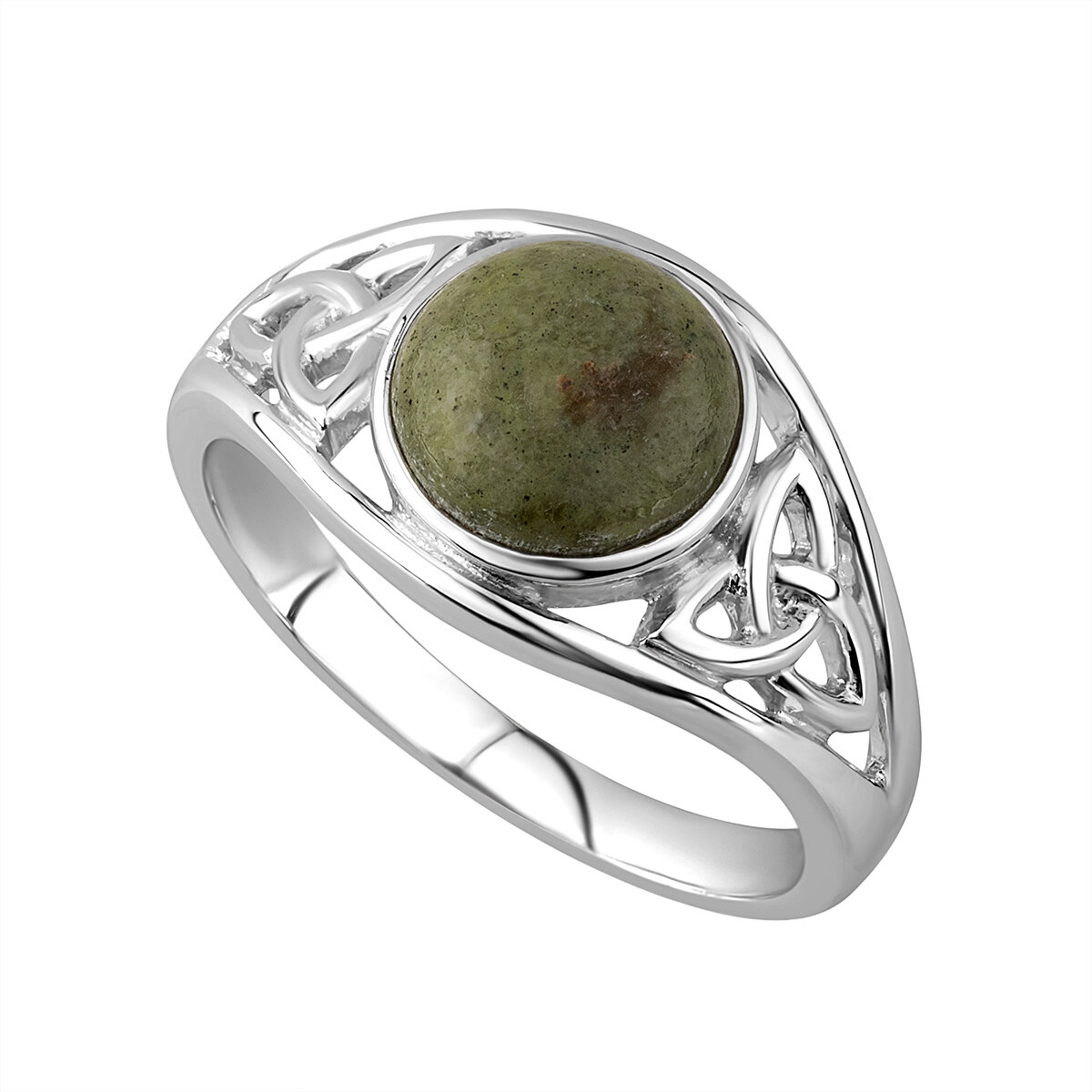 sterling silver connemara marble celtic trinity knot ring s2832 from Solvar