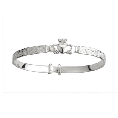 SILVER CLADDAGH CELTIC BABY BANGLE
