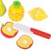 close-up of toy fruit set