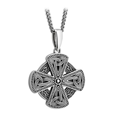 MENS SILVER CELTIC CROSS NECKLACE (BOXED)