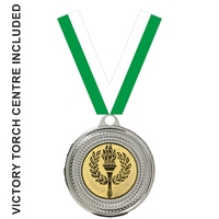 40mm Medal with Centre & GREEN Ribbon (Silver