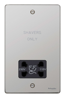 Schneider Ultimate Low Profile Shaver Socket Polished Chrome with Black Insert   | LV0701.0067