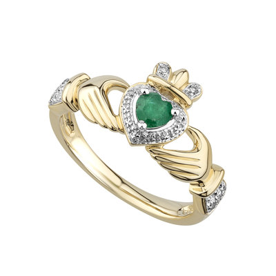 14K EMERALD & DIAMOND CLADDAGH ENGAGEMENT RING (BOXED)