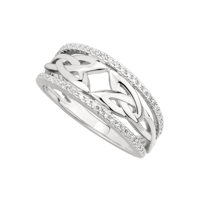 CUBIC ZIRCONIA TRINITY KNOT RING(BOXED)