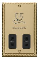 Click Deco Georgian Cast Brass with Black Insert Dual Voltage Shaver | LV0101.1799