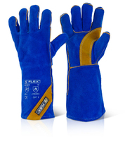 Click Leather Welders Gauntlet Blue/Gold H/Q Kevlar