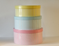 HAT BOX PINK/BLUE/YELLOW SET OF 3 BOXES