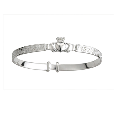 SILVER CLADDAGH CELTIC BABY BANGLE (BOXED)