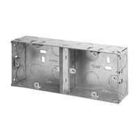 2 Gang 35mm Dual Metal Socket Box