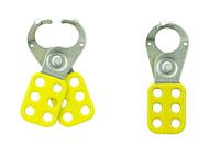 Master Lock Safety hasp, 25mm diameter jaws, yellow with locking tabs