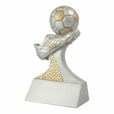 9cm Soocer Boot and Ball (Silver with Gold)