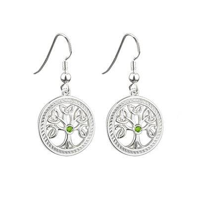 STERLING SILVER TREE OF LIFE  DROP EARRINGS(BOXED)