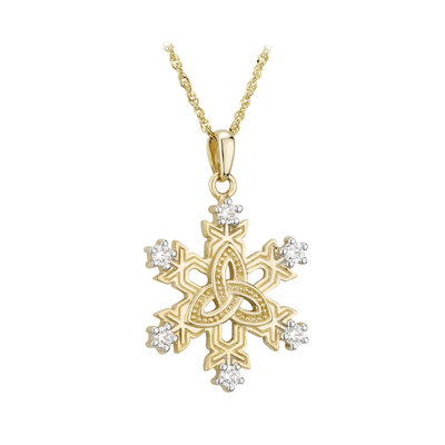 10 karat gold cubic zirconia celtic snowflake necklace from Solvar comes on 18 inch 10 karat gold rolo chain