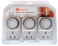KINGAVON 3PC 24 HOUR PLUG-IN TIMER SOCKET SET TS210