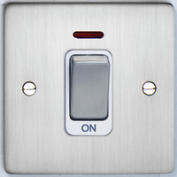 DETA Flat Plate small cooker switch Satin Chrome with White Insert | LV0201.0195