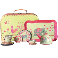 Play tin tea set in a mini suitcase