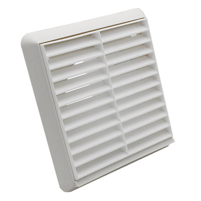 Wall Vent Grill With Round Spigot And Mesh 4 Inch Pipe White