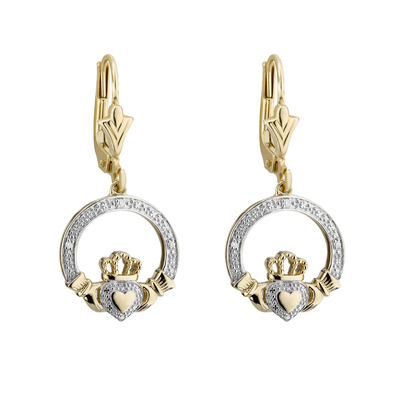 9K DIAMOND CLADDAGH DROP EARRINGS