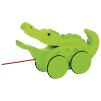 Wooden pull along toy crocodile for toddlers