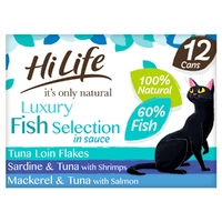 HiLife 'ION' Cat Can Luxury Fish Selection in Sauce 70g 12pk x 1