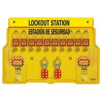 Master Lock 10-lock padlock station, english/spanish, Zenex™ thermoplastic padlocks