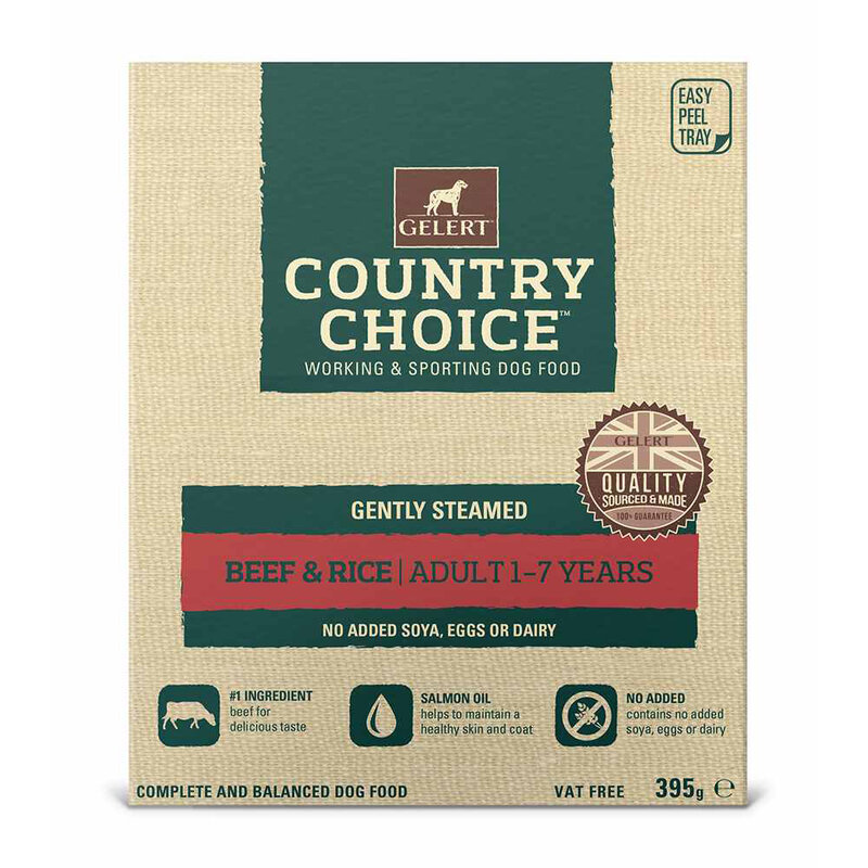 Gelert Country Choice Beef & Rice Tray Dog Food 10 x 395g