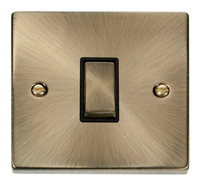 Click Deco Victorian Antique Brass with Black Insert 1 Gang 2 Way 'Ingot' Switch | LV0101.0005