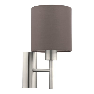 EGLO Satin Nickel and Anthracite Brown Shade Wall Light Round IP20 | LV1902.0107