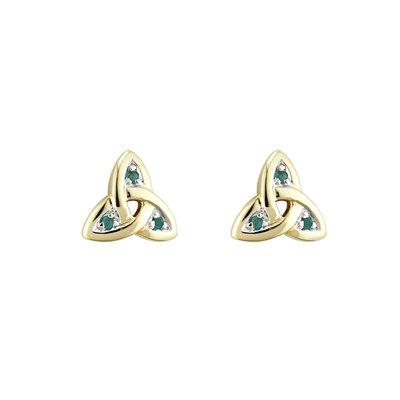 14 karat gold emerald trinity knot stud earrings