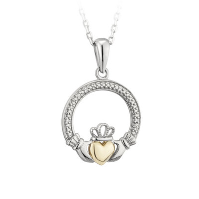 sterling silver 10k gold diamond claddagh pendant s46441 from Solvar
