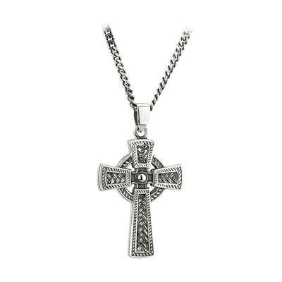 STERLING SILVER OXIDISED CELTIC CROSS PENDANT (BOXED)