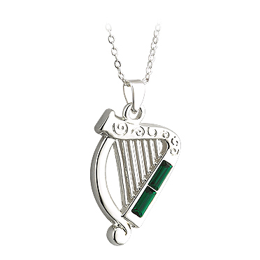 SILVER PLATED CRYSTAL HARP PENDANT