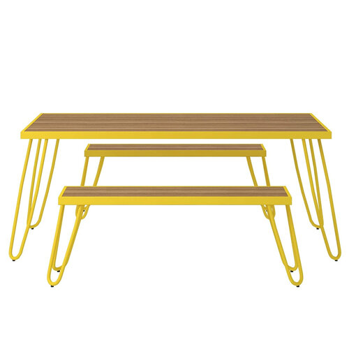 Paulette Outdoor Table and Bench Set (Yellow) 2