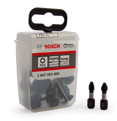 Bosch Pozi 2 Impact Control Screwdriver Bits Pkt 25 In Tic Tac Box 2607002804