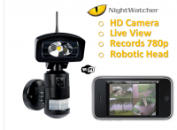 NIGHTWATCHER LED ROBOTIC LIGHT & WIFI HD CAMERA 4GB SD -BLACK