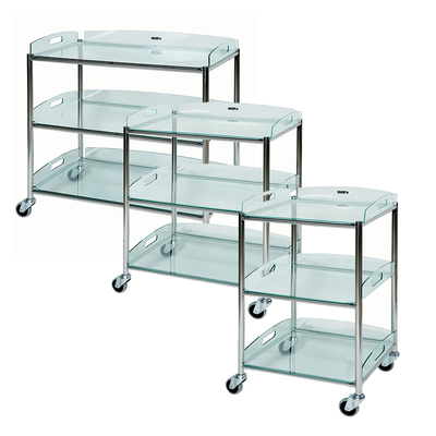 Surgical Trolley with 3 Glass Effect Trays