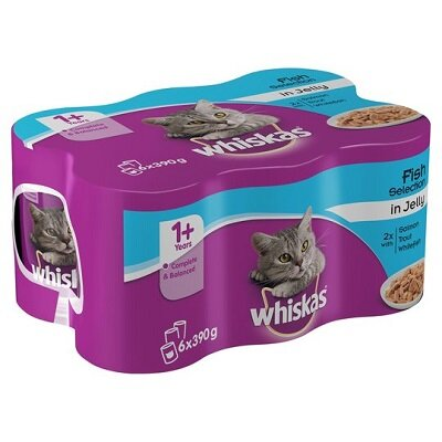 Whiskas Tins Fish Chunks In Jelly Selection 4 x 6 x 390g
