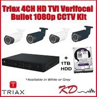 Triax 1080p 4 Varifocal Bullet CCTV Kit - Gre