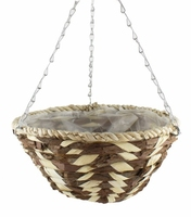 "Bark & White Leaf Hanging Basket Round 12"""