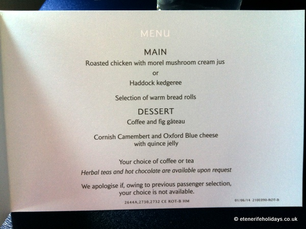 british airways club class tenerife menu