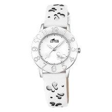 Reloj de niña comunión Lotus Mariposas blanco Piel