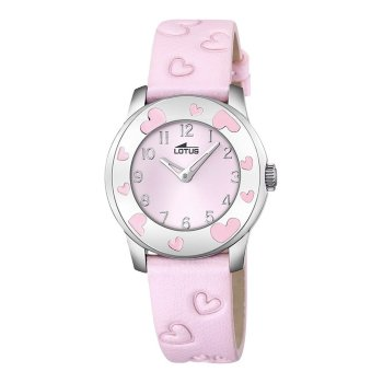 Reloj de niña comunión Lotus Corazones rosa Piel
