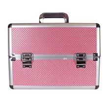 Maletín porta Cosméticos de aluminio rosa