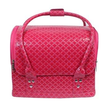 Bolso símil piel rosa para cosméticos