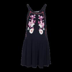 Vestido negro bordado floral