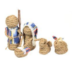 Belén de cuerda yute y tela 5 piezas