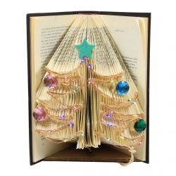 Origami Navideño en Libro real con microleds