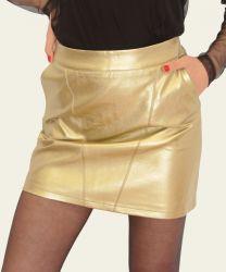 Falda recta símil piel