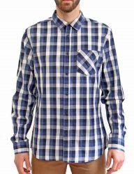 Camisa manga larga cuadros azul