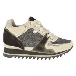 Sneaker con cuña interna, texturas y glitter
